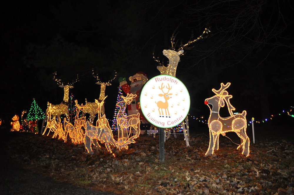 Located at 703 Pasadena Road, this house features a drive through light display.