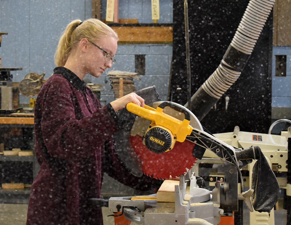 When Crabill completed the career exploration program, she had already fallen in love with the carpentry program.