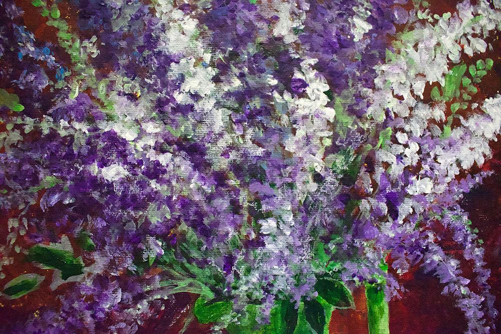 """Larkspur"" is a still life in acrylic by artist Elsie Cullins."