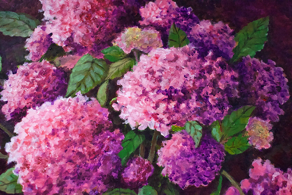 """Hydrangeas,"" a work in acrylic painted by Pasadena artist Elsie Cullins, is on exhibit at Mountain Road Library."