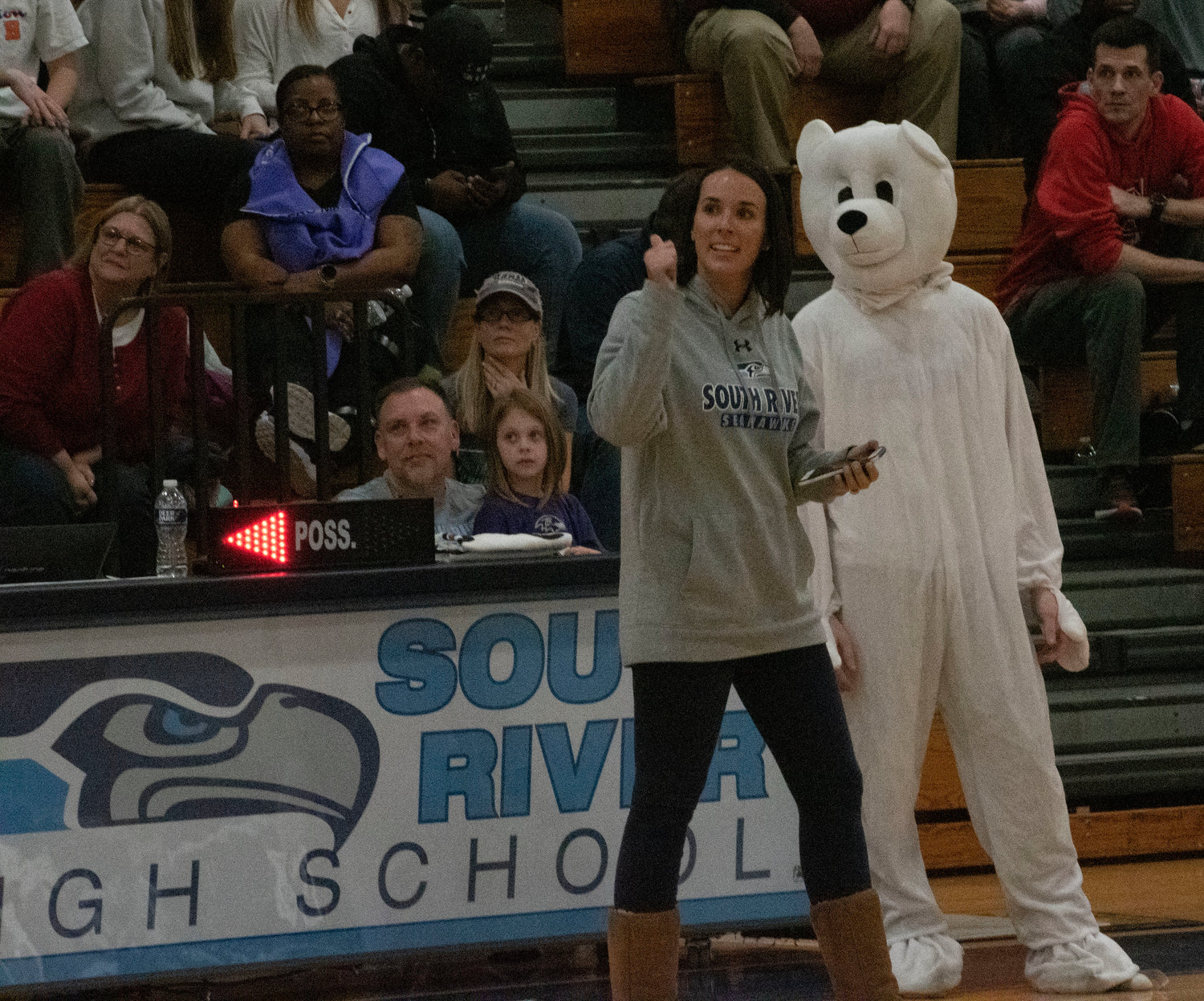 South River English teacher and Cool Schools Plunge team captain Mary Kokosko ran a basketball shooting contest during the halftime period of the school's home game against Southern.