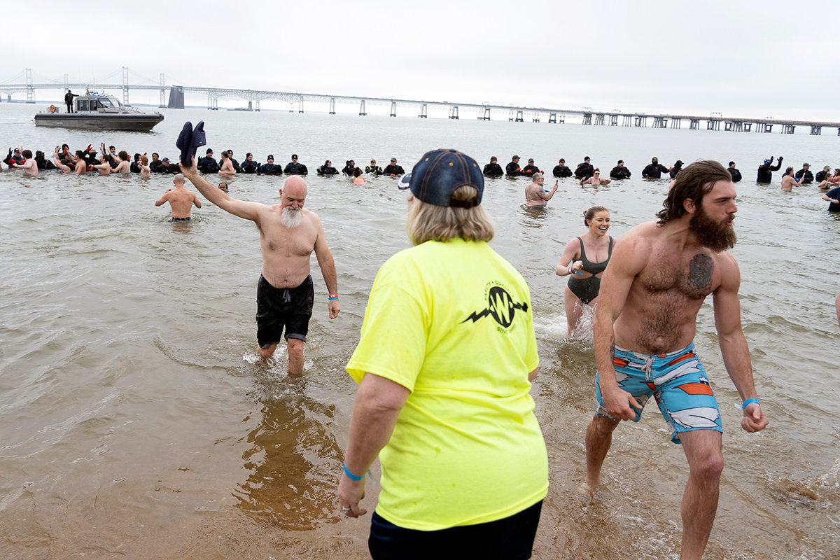 More than 10,000 people participated in the annual Maryland State Police Polar Bear Plunge at Sandy Point State Park from January 23-25.