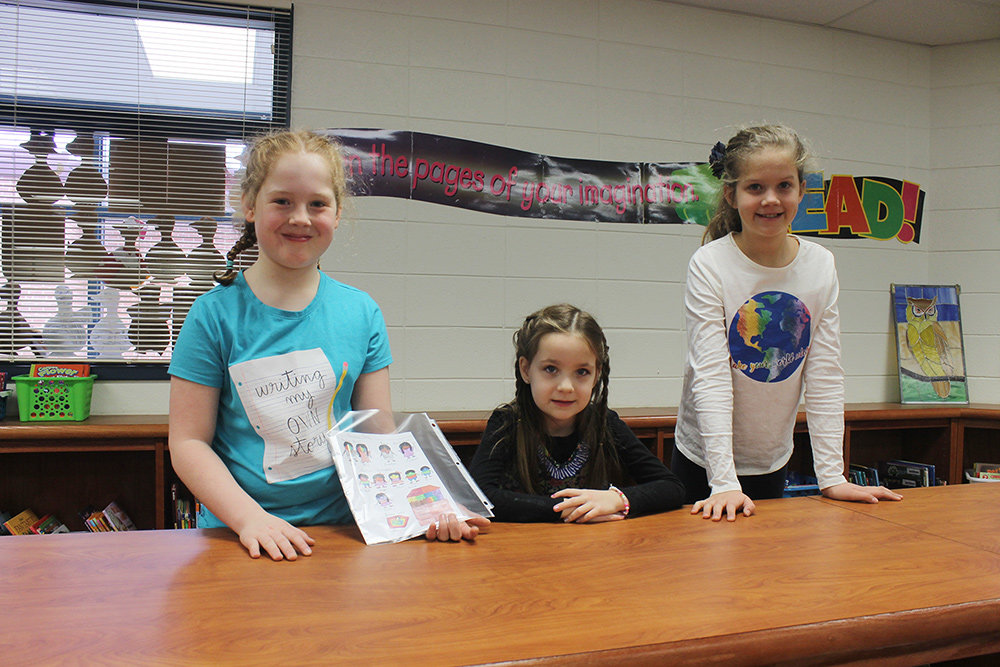 Folger McKinsey Elementary students Kaitlynne Wilt, Clara Plessinger and Sophia Vandiver were among the Young Authors Contest winners.