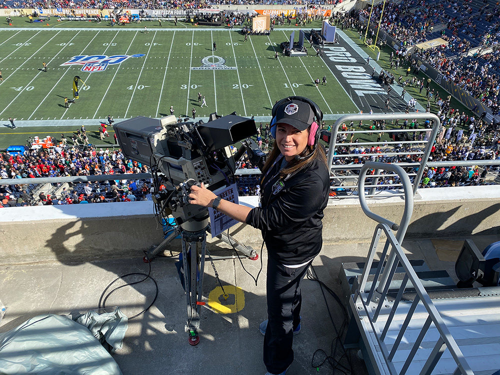 Elaine Rom operated camera three during the 2020 Pro Bowl.