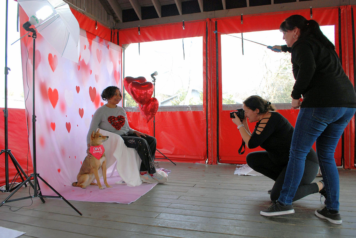 Angie Hicks and sheba inu Nikko posed for a Valentine's Day portrait.