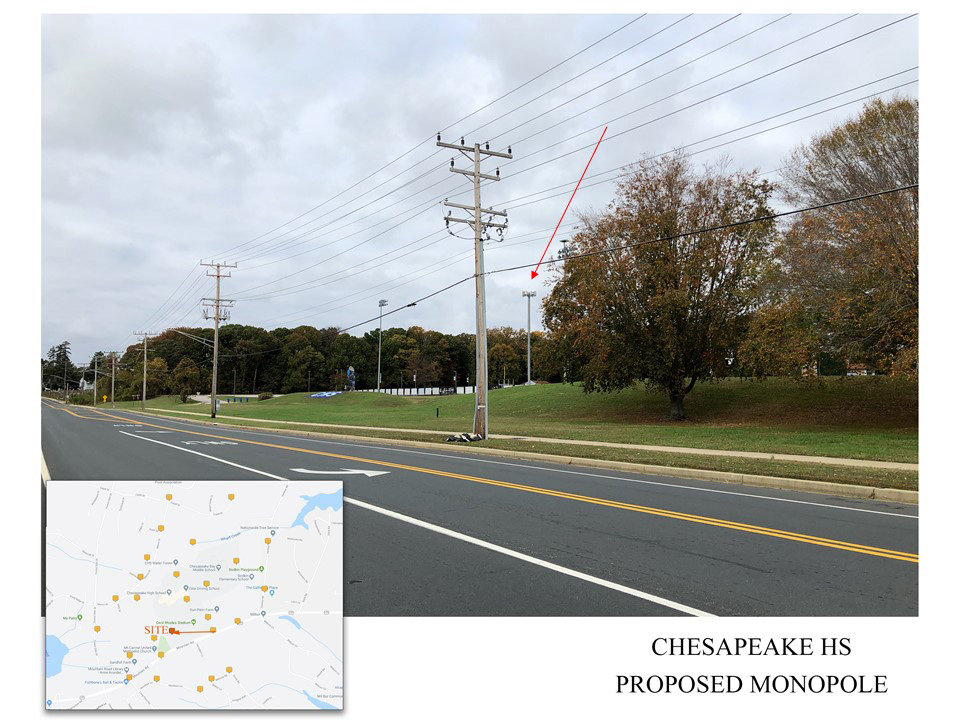 Milestone Communications did a balloon simulation to see how the cell tower would appear from areas around Chesapeake High School.