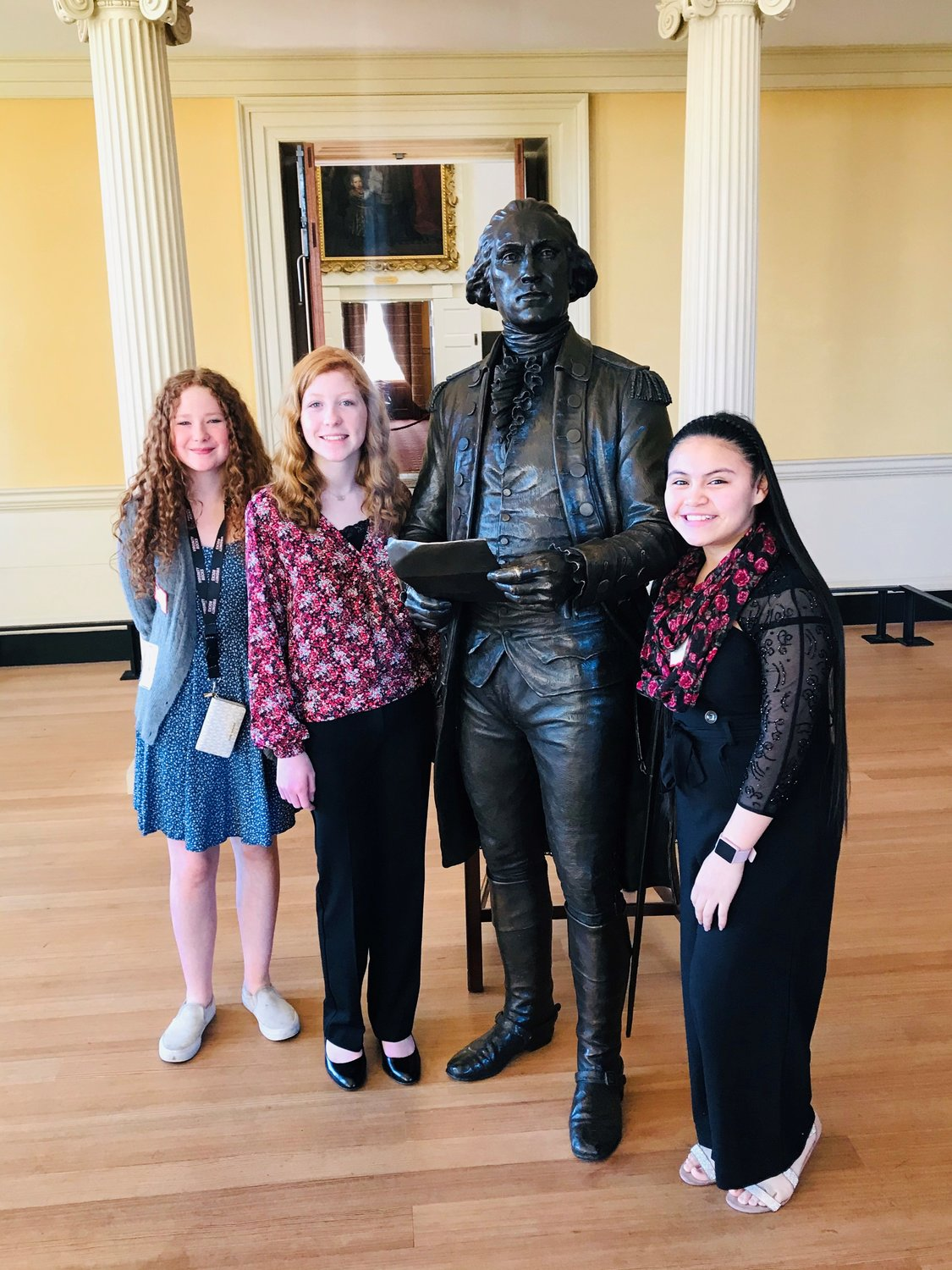 (L-R) Bridgette Myers, Katelyn Kilgore and Perla Ramirez-Lopez toured buildings in the state complex after winning the Senator for a Day essay contest.