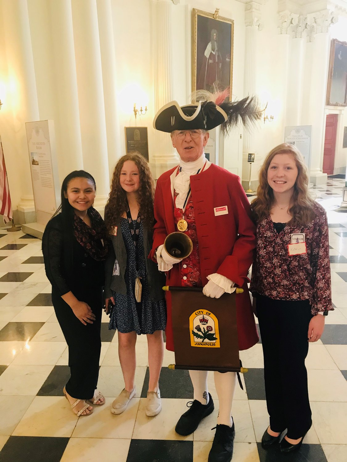 (L-R) Perla Ramirez-Lopez, Bridgette Myers and Katelyn Kilgore toured buildings in the state complex after winning the Senator for a Day essay contest.