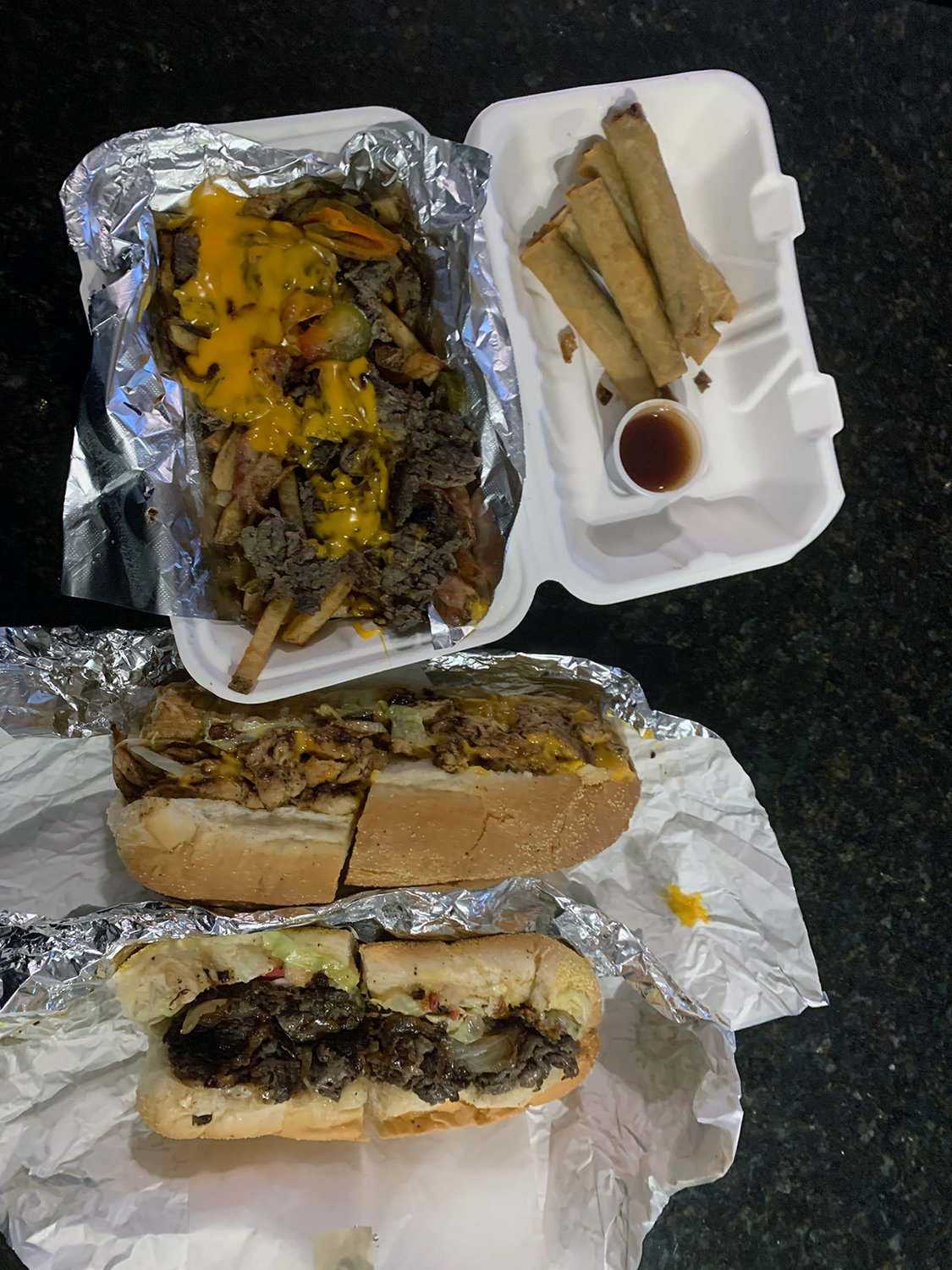 The cheesesteaks are indulgent, with several flavor and texture dimensions.