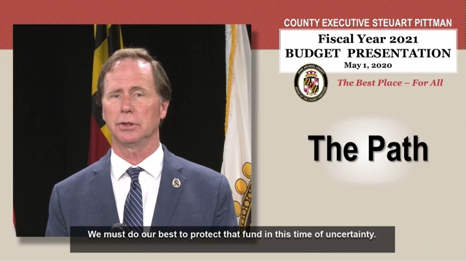 Due to the coronavirus, County Executive Steuart Pittman delivered his budget address via video.