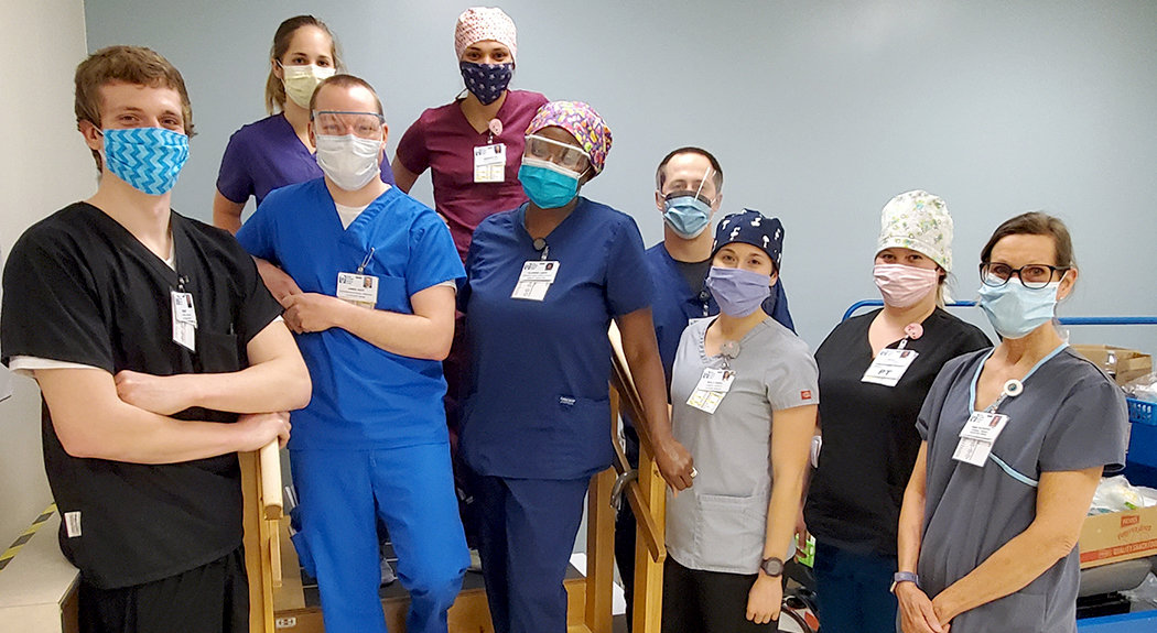 Members of the Prone and Mobility team include (l-r) Grant Levermore, Alexa Spearman, Jimmy Hoyt, Gwendolyn Leipe, Clarisse Labor, Dan Sullivan, Molly Gigioli, Nicole Miller and Marilyn Pfieffer.