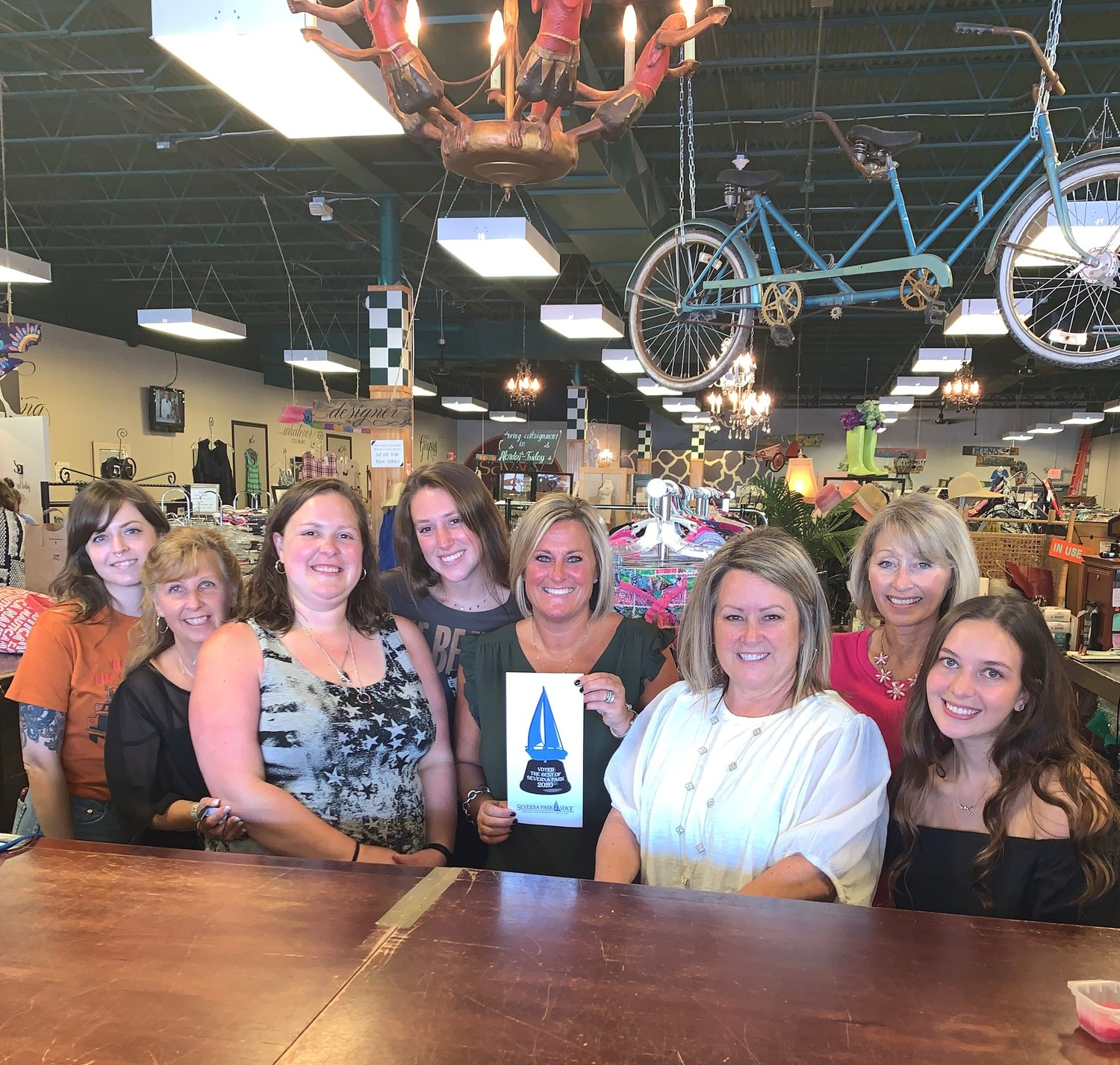 The Savvy Consignment staff was proud to see their workplace win Best Consignment Shop.