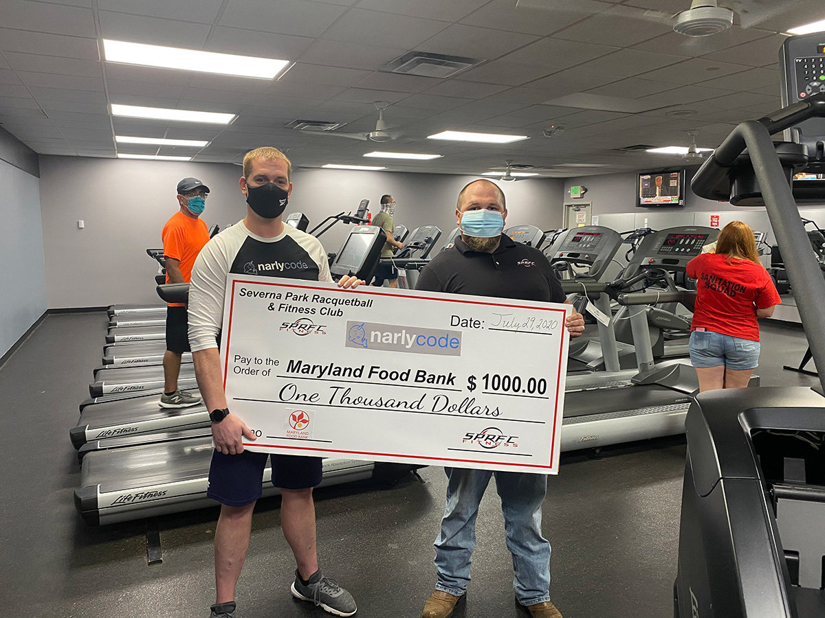 General Manager Mike Hallinan (right) and SPRFC trainer and owner of Narlycode, Mark Gruszecki, raised $1,000 for the Maryland Food Bank to help those in need during the pandemic.