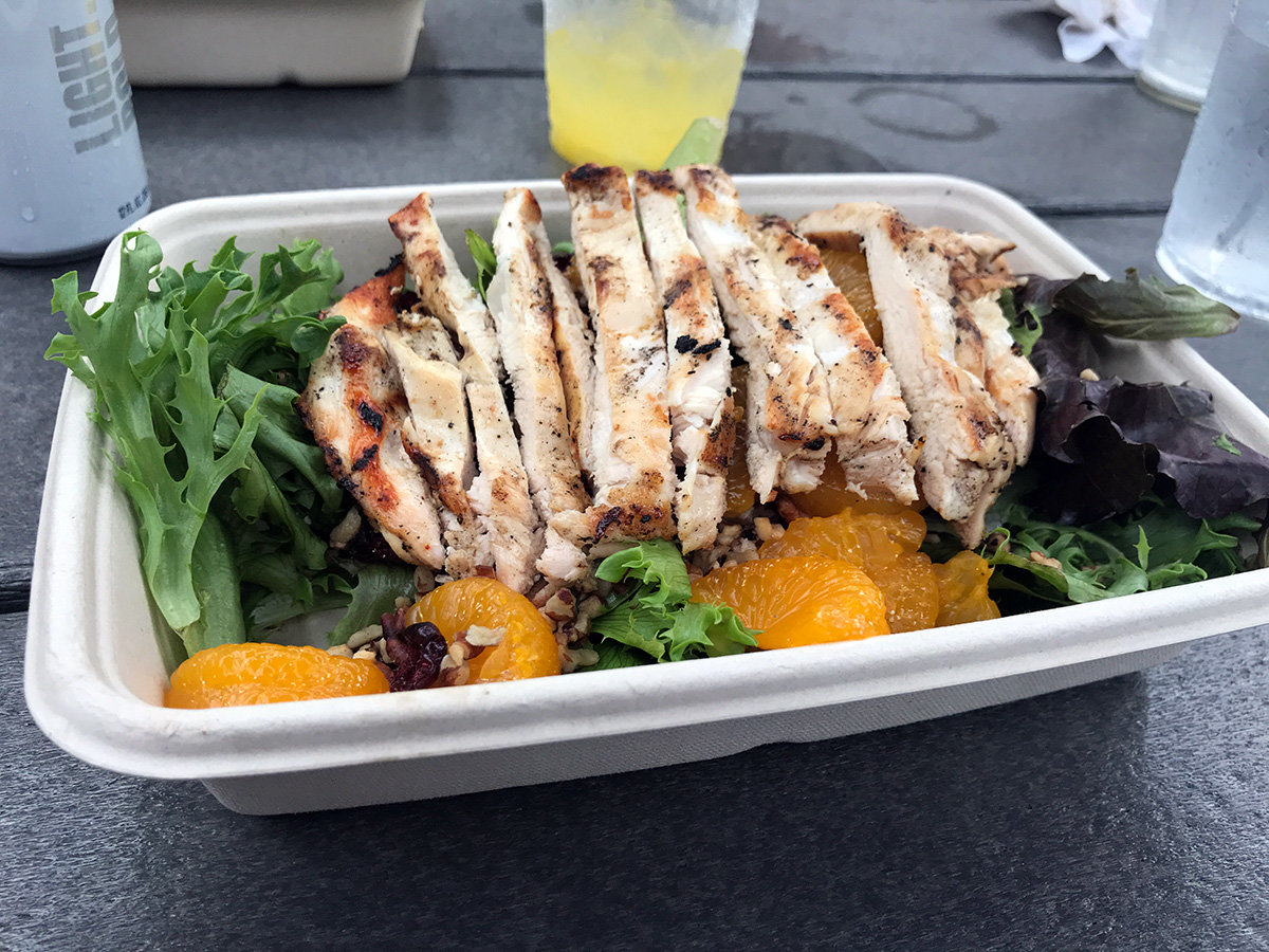 The mandarin chicken salad offered a nice pairing of tender chicken and mandarin orange slices.