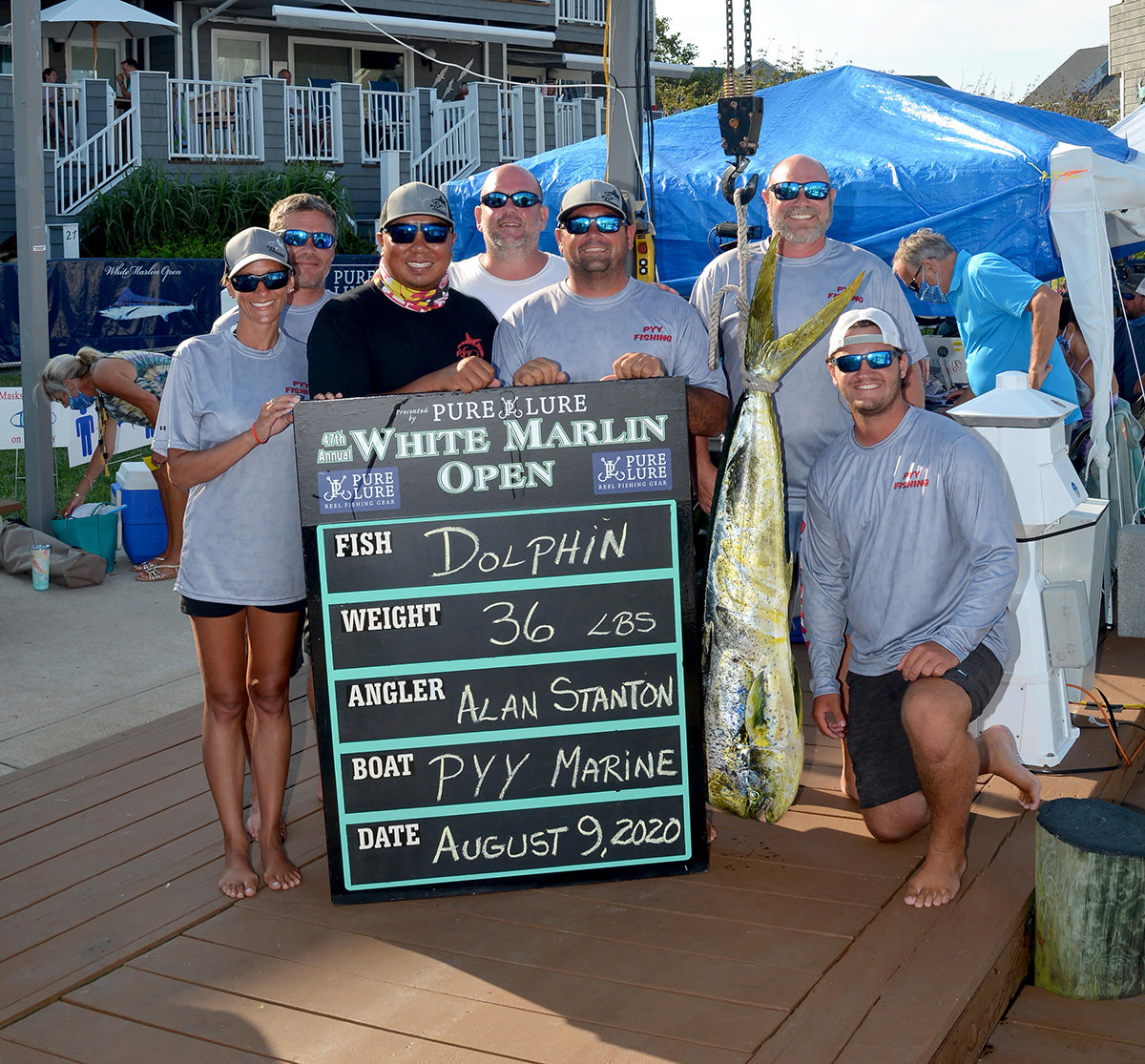 The PYY Fishing team posed with the 36-pound fish that won them the Small Boat Dolphin category at the 2020 White Marlin Open in Ocean City.