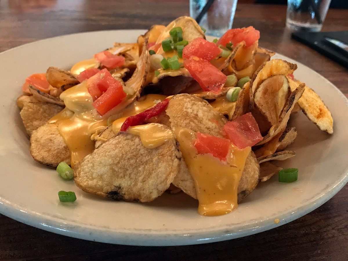 The Eastern Shore chips were skinny cut potatoes, with ale cheese, tomatoes and green onions.