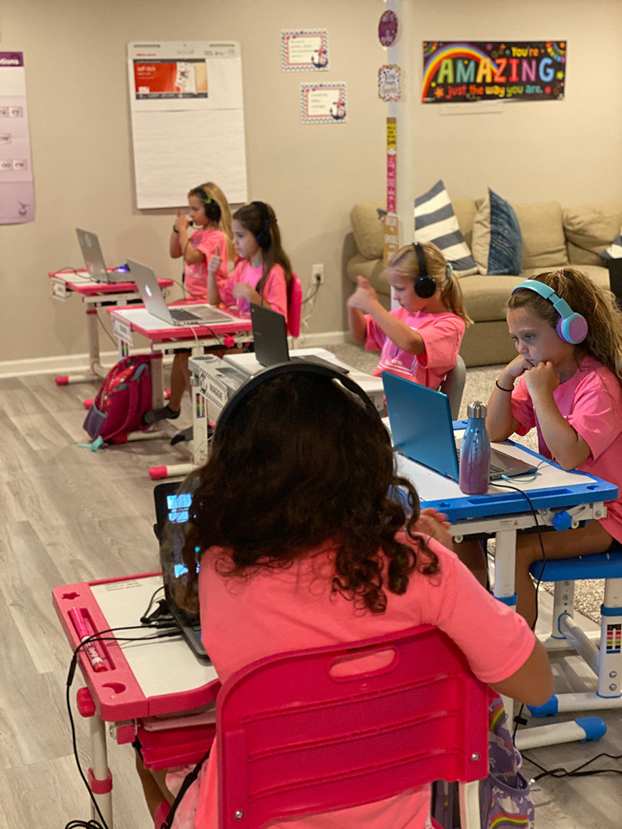 Geoff and Jessica Hermanstorfer have retrofitted the basement of their West Severna Park home to accommodate six second-grade girls during the shutdown of Anne Arundel County Public Schools.