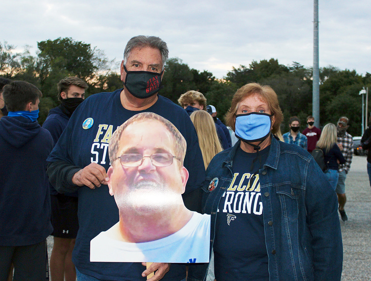 Chip and Barbara Elgert, the parents of Severna Park High School superfan Kenny Elgert, attended the rally.