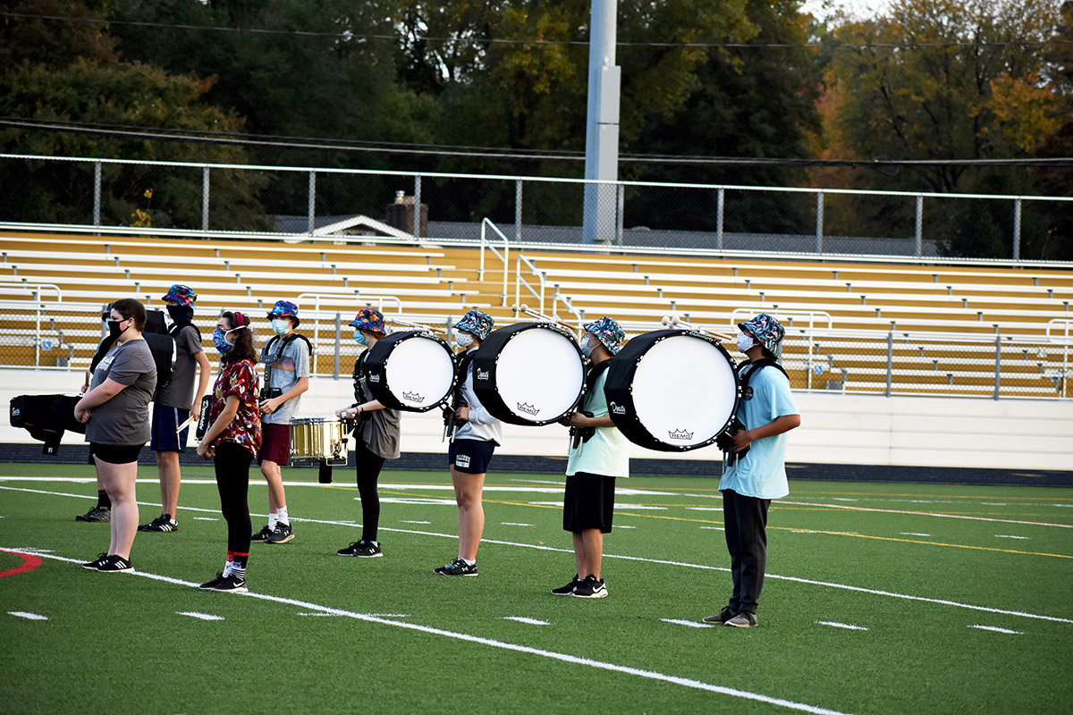 On October 23, the Severna Park High School marching band met at the school stadium to work on fundamental marching skills such as posture, positions and movement.