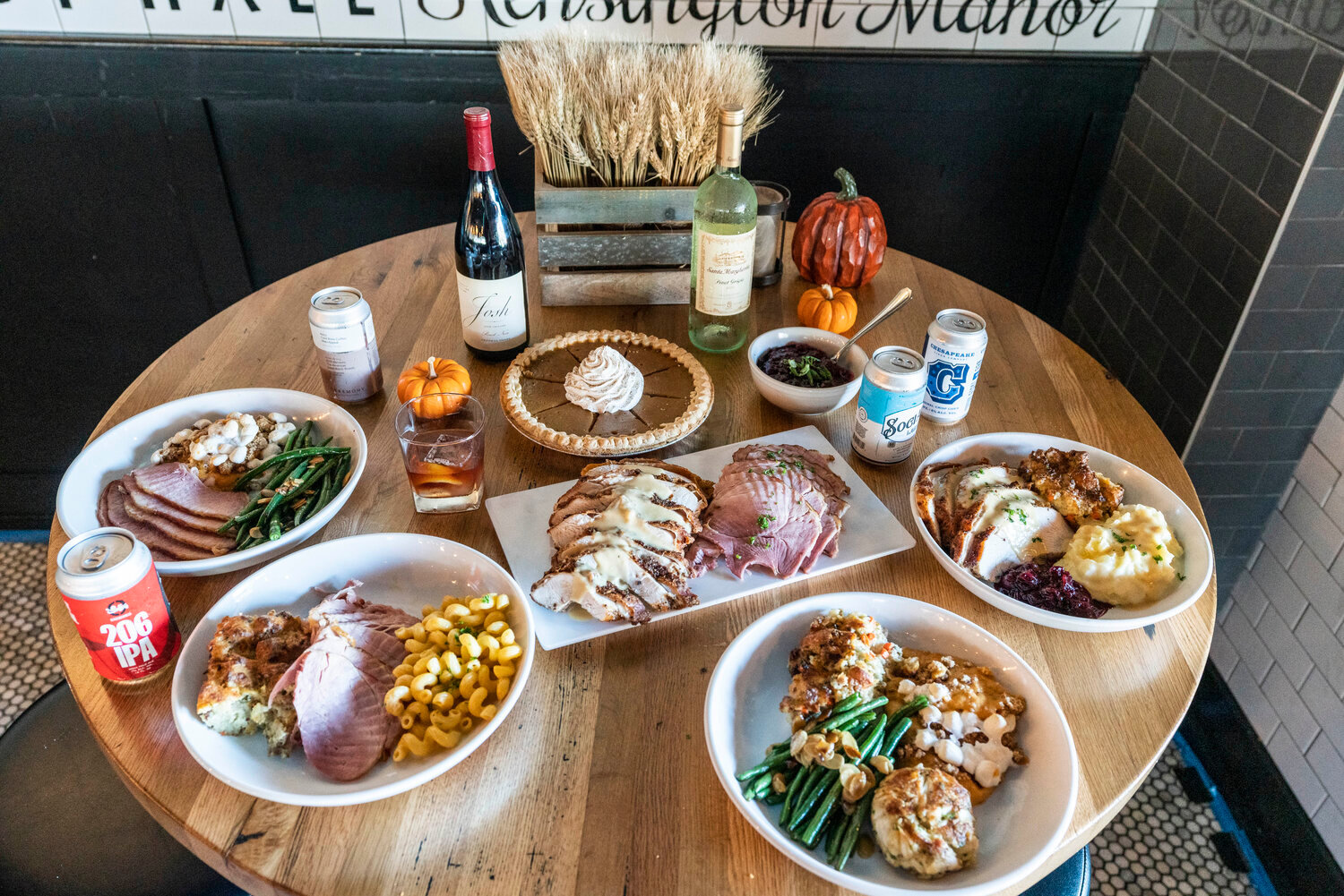 Park Tavern's traditional turkey dinner has white and dark meat, sausage stuffing, mashed potatoes, green beans, sweet potato casserole, turkey gravy and cranberry chutney.