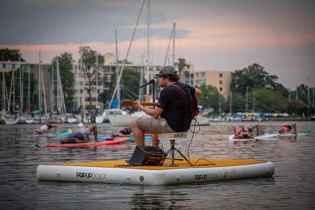 Last summer, Aaron Yealdhall, known as Skribe, played a socially distanced paddleboard yoga concert by Capital SUP in Annapolis.