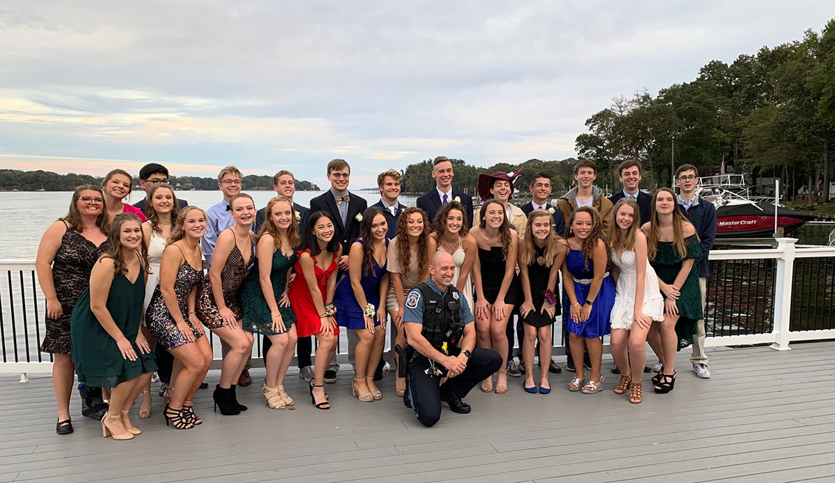 As valued members of the school community, SROs are welcomed to school-sponsored events like concerts, football games, graduations and theatrical performances. In this photo, Alex Swartz attended an event for the 2019 SPHS homecoming dance.