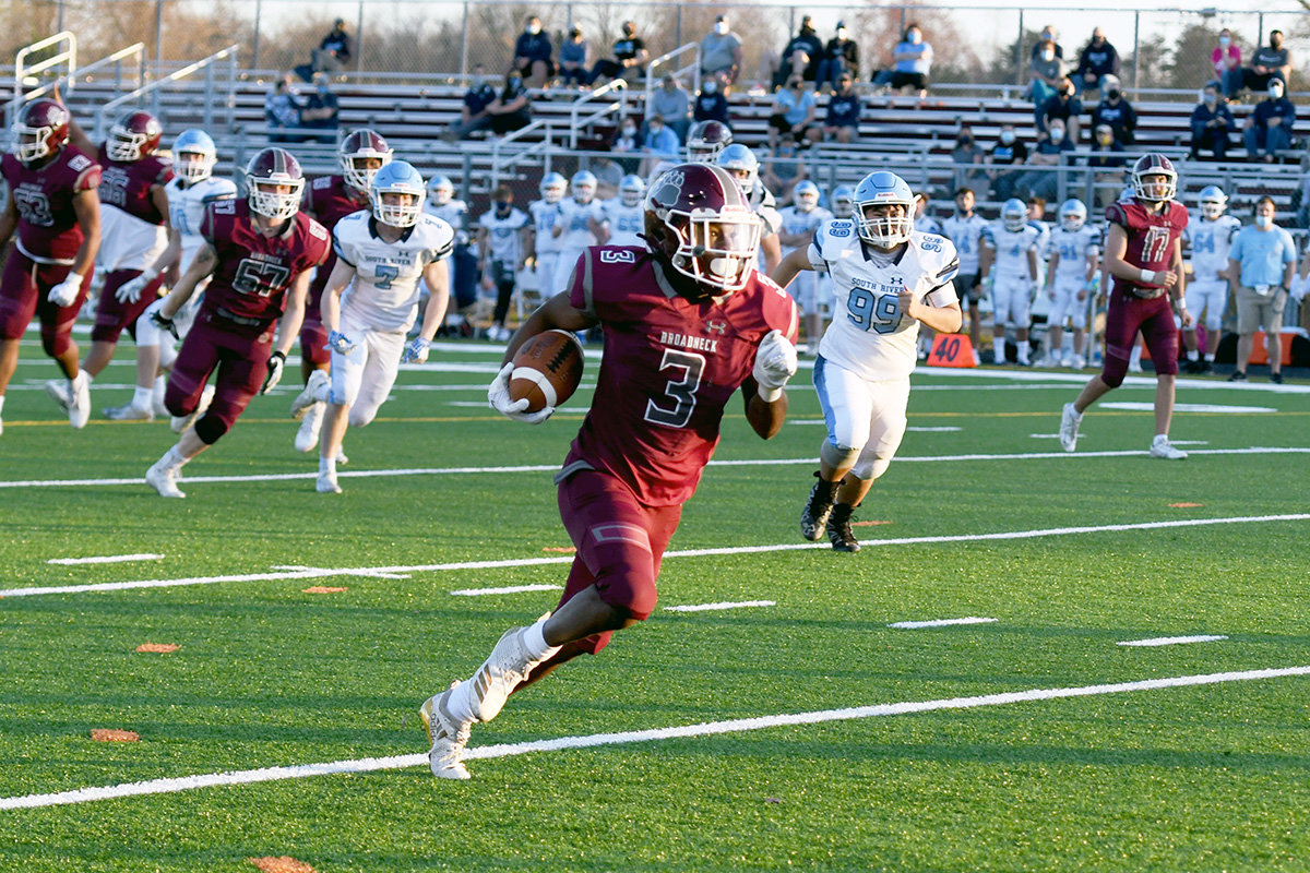 Rashid Proctor's two touchdown runs against South River helped the Bruins to a 42-7 home victory on March 26.