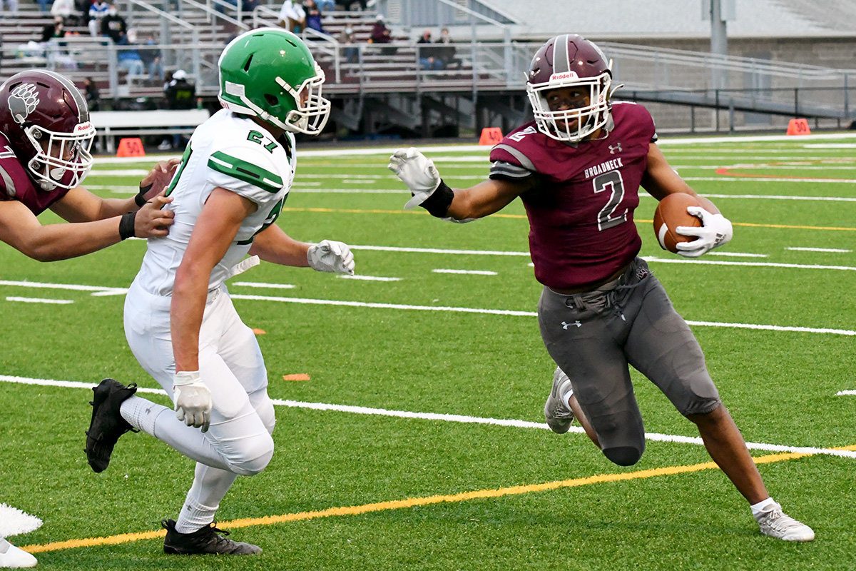Davion White caught two touchdowns and ran for two more during Broadneck's 50-20 victory over Arundel on April 9.