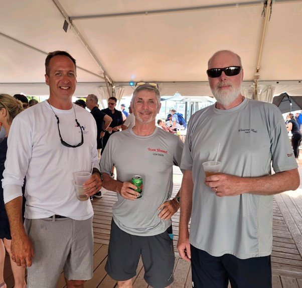 Annapolis to Newport RBSA skippers Kurt Cerny, Don Snelgrove and Mark Lister gathered after the Annapolis to Newport race.