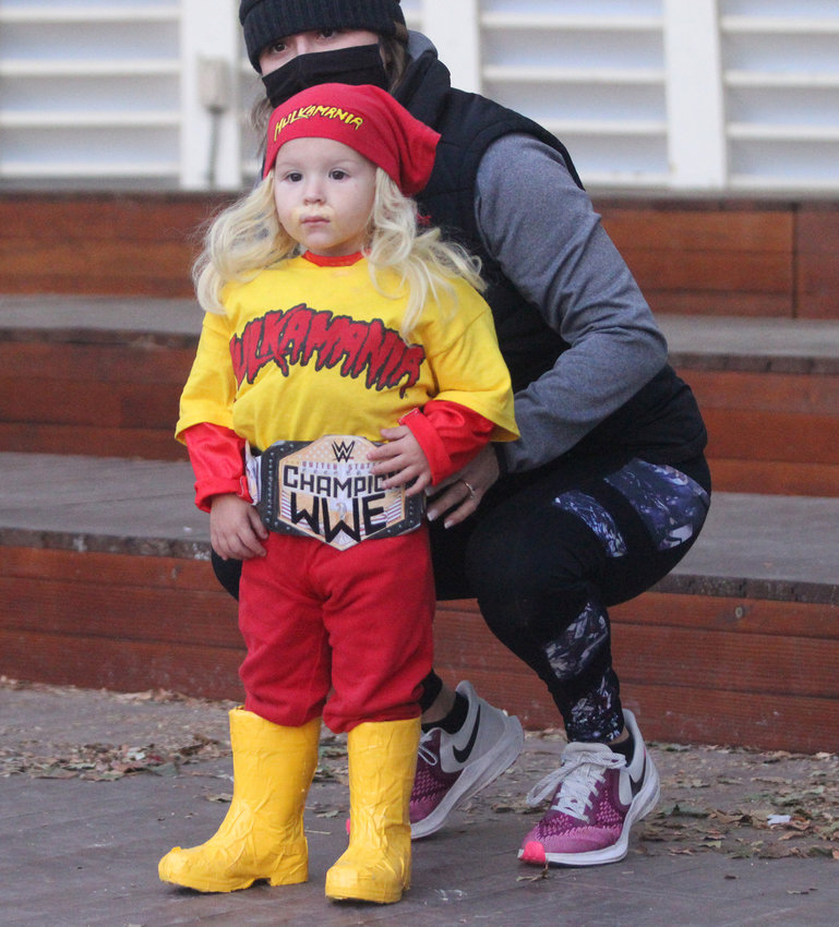 Kason Svoboda won the 2-year-old division of Seward Rotary Club's Halloween Costume Contest on Oct. 29 as for a Hulk Hogan Costume. Behind Kason is mother, Heidi Svoboda.