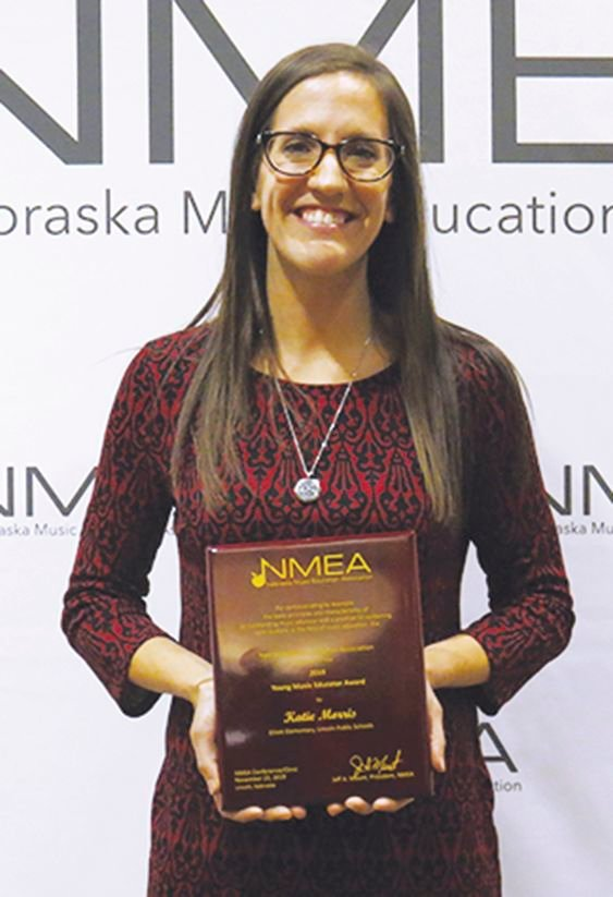Centennial graduate Katie Brauer Morris was named the Nebraska Young Music Educator of the Year for 2019.