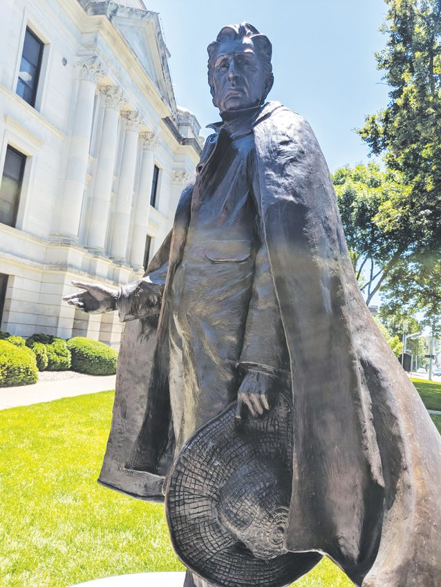 A statue of William Seward now stands on the courthouse lawn in Seward.