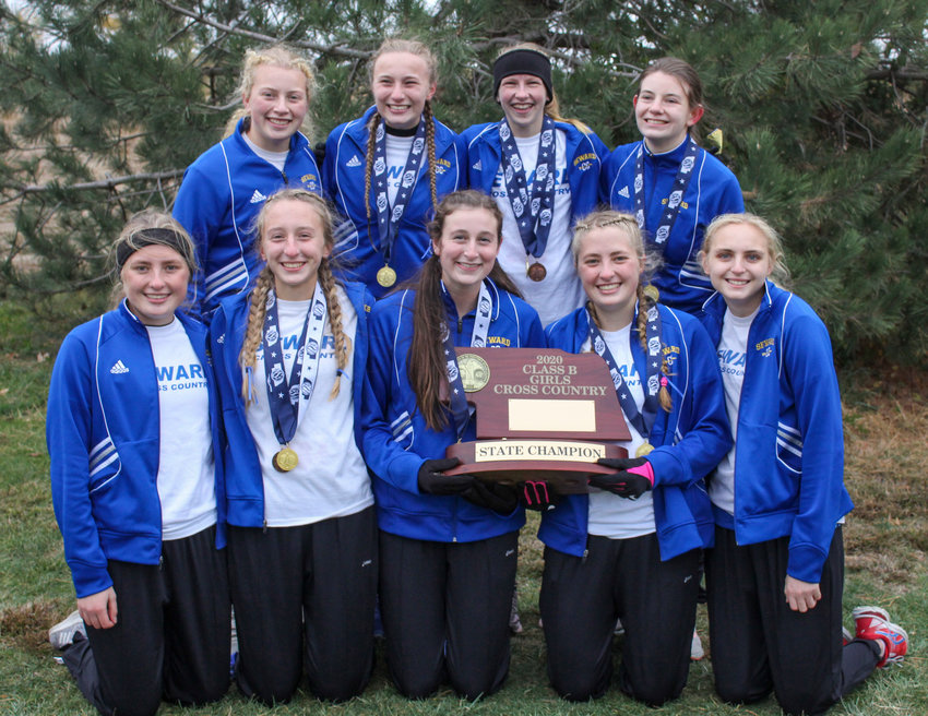 The Seward girls won the Class B state cross country championship Oct. 23. Team members include, from left: (front row) Emily Gokie, Keegan Beisel, Samantha Hughes, Elizabeth Gokie and Tayvah Straub; and (back row) Michaela Broadwell, Karnie Gottschalk, Tandee Masco and Natalie Axt.