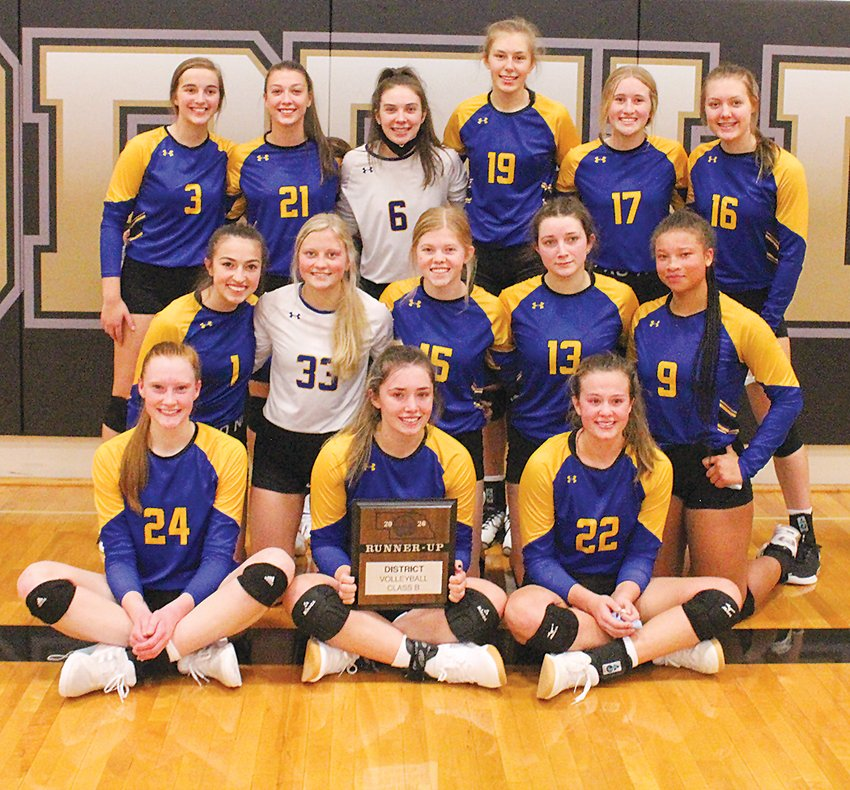 The Seward volleyball team was the district runner-up Oct. 31. Team members are, from left: (first row) Abbey Ringler, Grace Vyhnalek and Anna Hughes; (second row) Nova Nordmeyer, Ellie Sagehorn, Eden Schulz, Keira Lliteras and Desirae Hibbert; and (third row) Madison Dominy, Drew Kratochvil, Morgan Craig, Gabi Cepek, Noelle Geidel and Tanya Miller.
