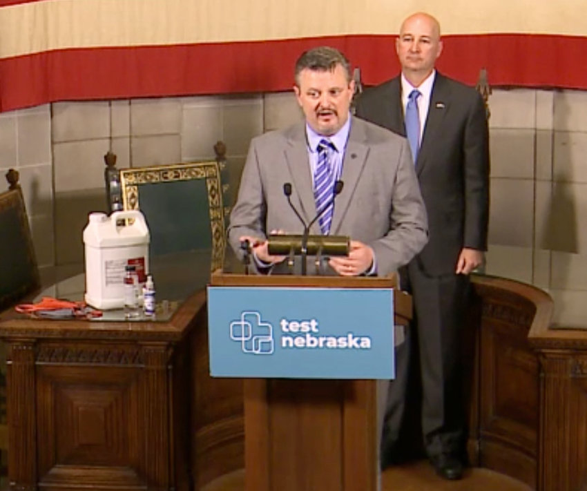 Concordia University's Kurth Brashear speaks about his experience contracting COVID-19 at Gov. Pete Ricketts' Nov. 9 press conference inside the State Capitol.