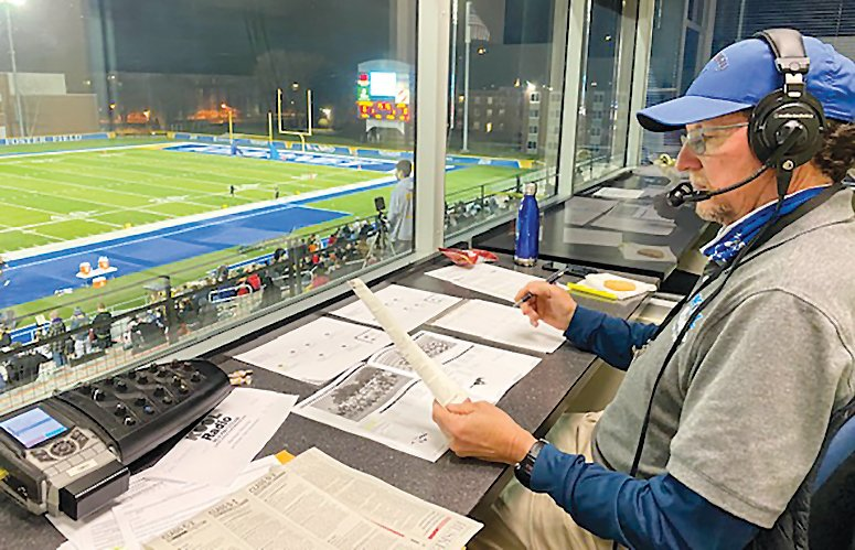 Mike Meyer of Seward called the D-6 Nebraska state championship football game at UNK recently. This is his 40th year of broadcasting local sports. It was his first 6-man football game he called with his partner, Jerry Meyer.