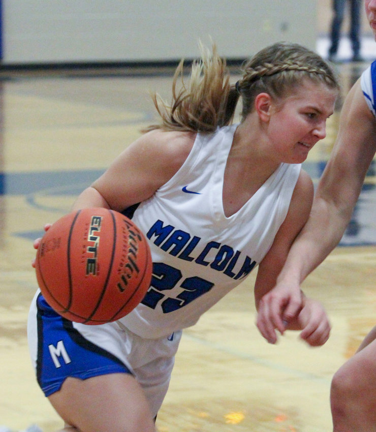 Alyssa Fortik of Malcolm looks for room in the lane Dec. 30 against Centennial.