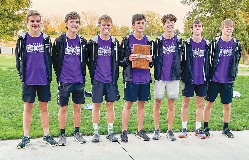 The Milford boys' cross country team finished with a perfect score at the Southern Nebraska Conference meet Oct. 7. Team members are, from left, Gavin Dunlap, Landon Lautzenhiser, Carter Roth, Kaleb Eickhoff, Maddox Baack, Hudson Mullet and Elliott Reitz.