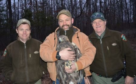 Bledsoe County Wildlife Officer Mark Patterson (on right) assisting with Golden Eagle project