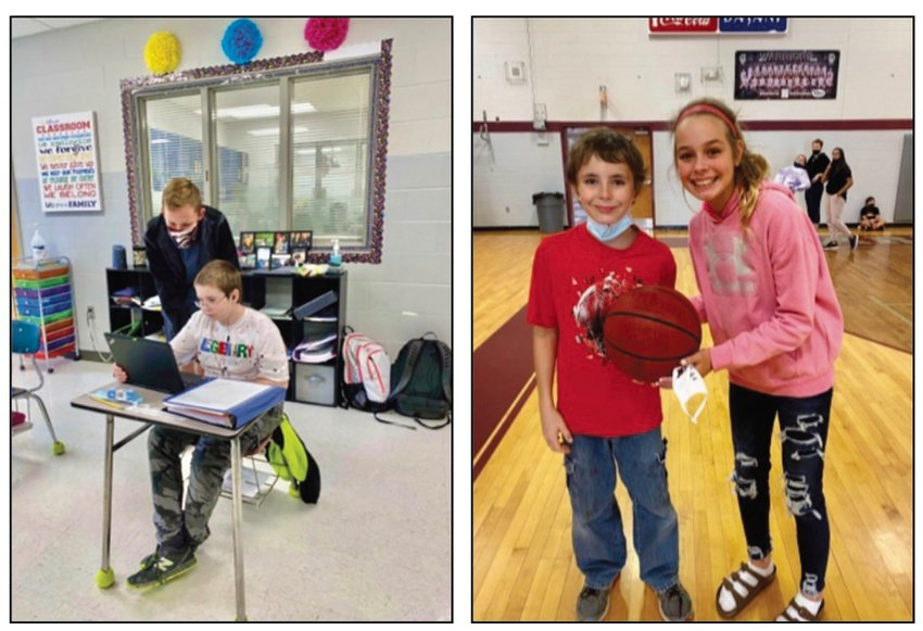 Kason Seal and Gracie Clark are two students at White County Middle School who help with students in the extended resource and CDC classes.