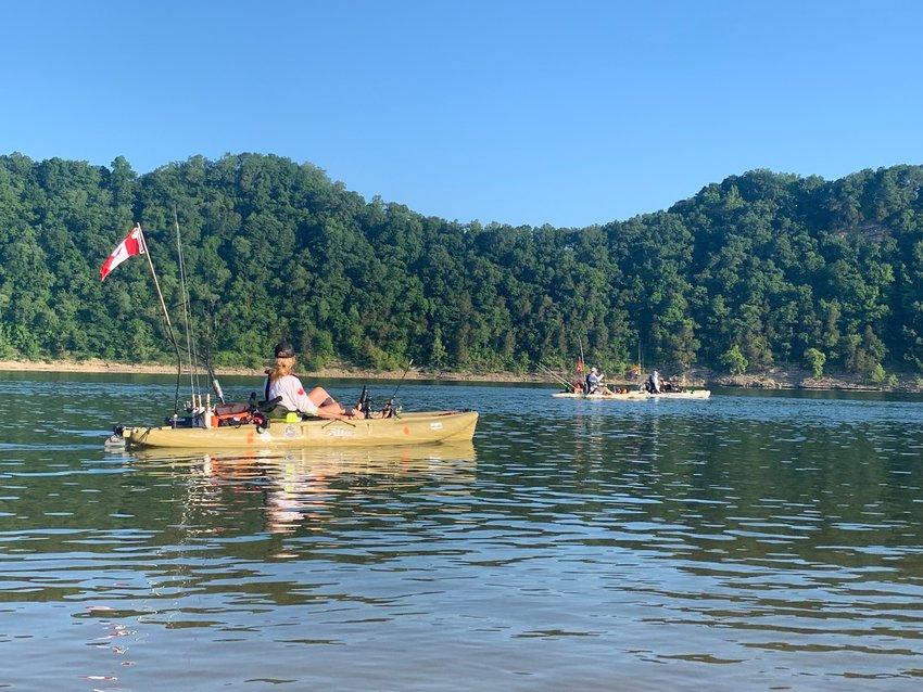Kayak fishing on Center Hill Lake