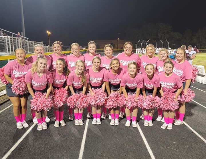 White County High School cheerleaders dressed in pink t-shirts in observance of Breast Cancer Awareness Month.  (Photo by JULIA MORRIS PHOTOGRAPHY)