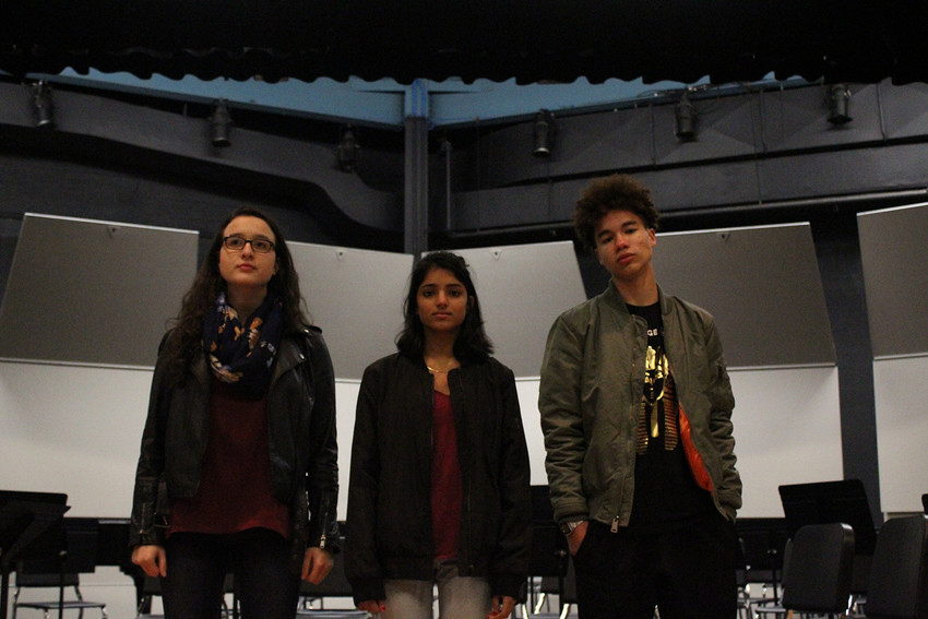 Photo by Jamie Swinnerton.(From left to right) Annabella Mead-VanCort, Prachi Ruina, and Eamon Nunn-Makepeace are the students leading the charge for change in the performance arts program.