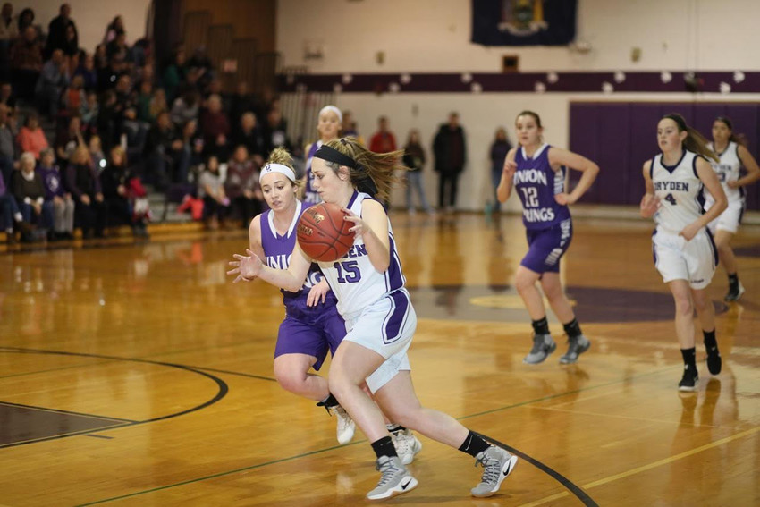 Photo by Darl Zehr. Senior Keri Daley (15) has emerged as one of the top scoring options for the Purple Lions.