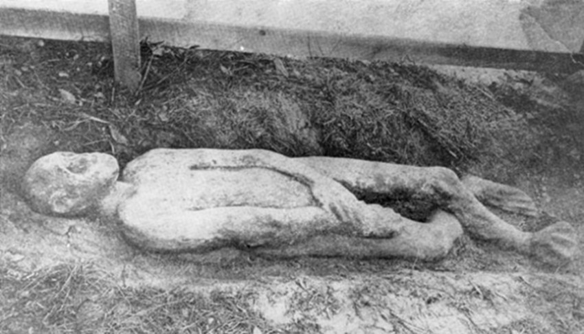 Photo provided by The History Center in Tompkins County.A view of the Taughannock Giant after he was unearthed.