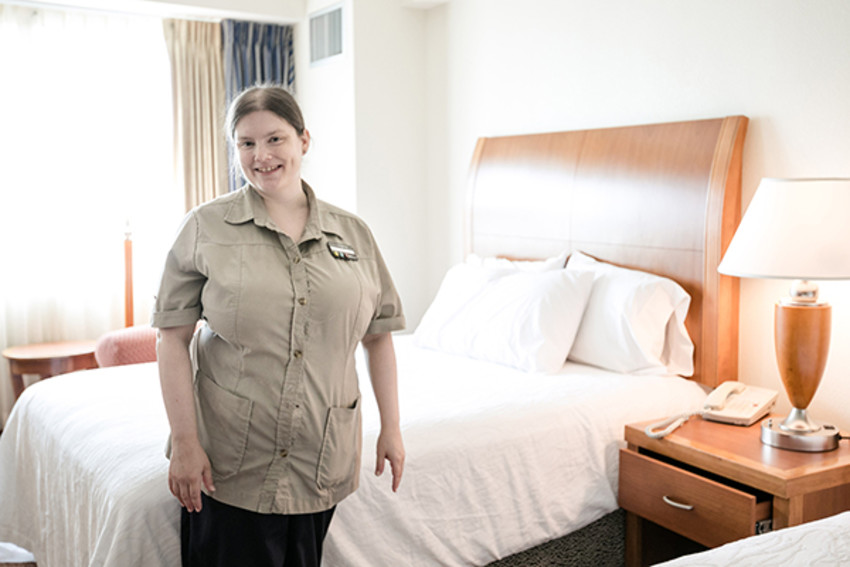 Photo by Allison Usavage / AllisonUsavage.comElizabeth Ingram works as a housekeeper for Hilton, a position she found through her engagement with Challenge.