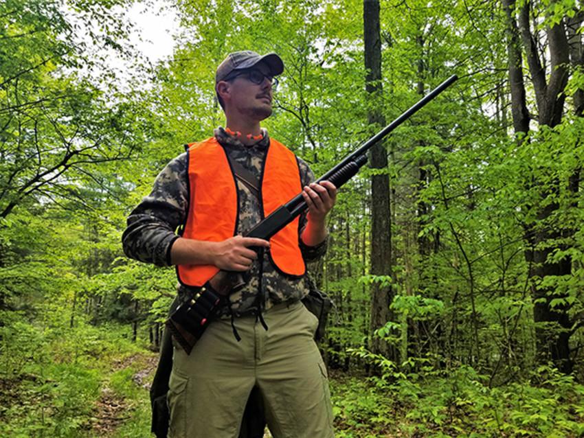 Photo by Cosmo Genova / Tompkins WeeklyNew hunter Ryan Miga hunts on public land.