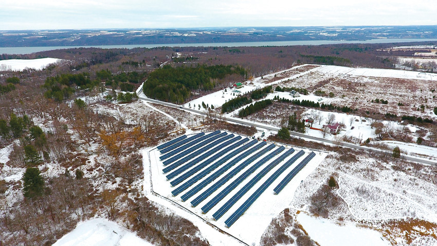 Photo ProvidedA snowy aerial view of the community solar project in the Town of Ulysses.