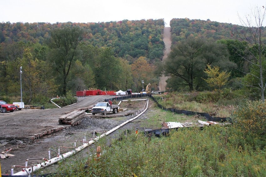 The route for the Constitution pipeline would have required more than 250 stream crossings and clearing of steep slopes, similar to this construction of the Millennium pipeline.