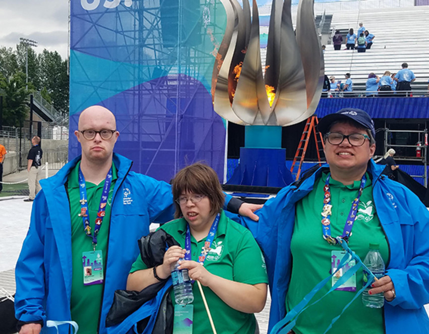 Photo provided by Karli Buday.Ithaca area athletes at the Special Olympics USA Games in Seattle, from left to right: Joel Armstrong, Amber Stilwell and Cassie Taber.